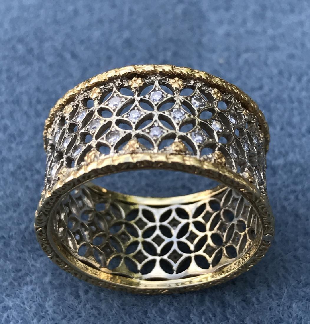Buccellati gold & diamond band ring, Circa 1980, yellow