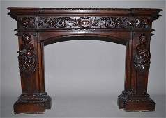 Carved Oak Fire Place Mantle Ht 39 W 54 D 16