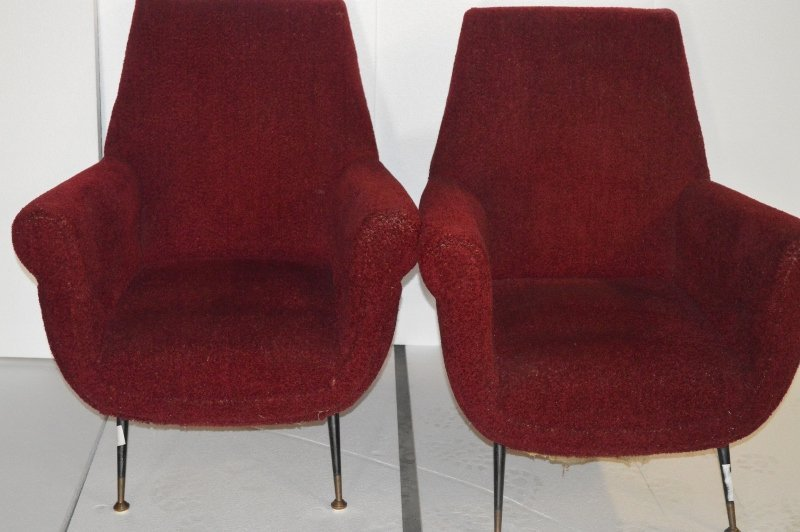 Pair of Italian Modern Red Lounge Chairs