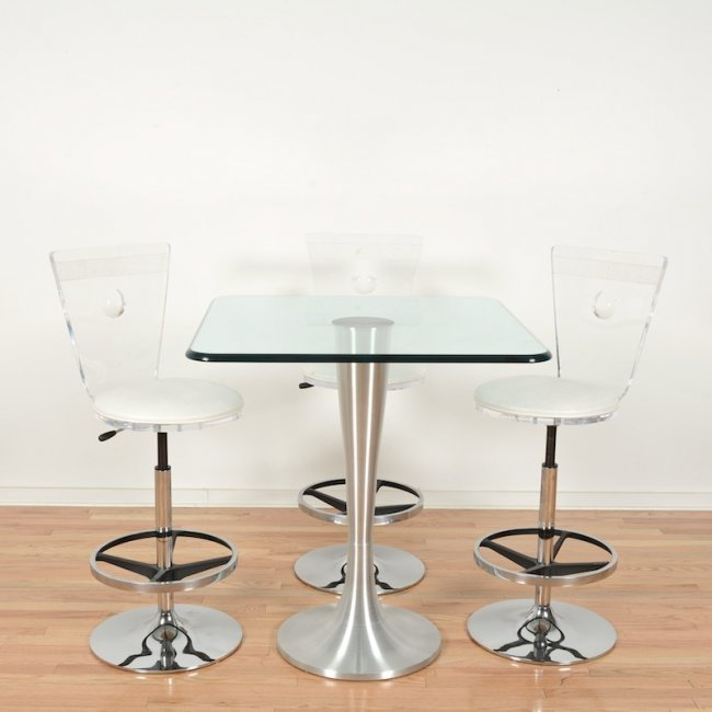 Bar Table & Lucite Stools