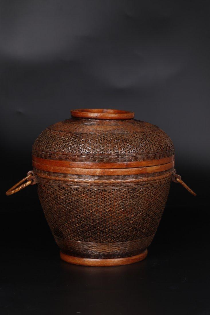 A Liquor Jar Bamboo Knit Basket