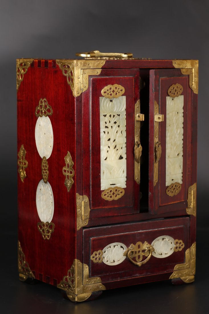 A Rosewood Jewellery Case With Jade Inlay