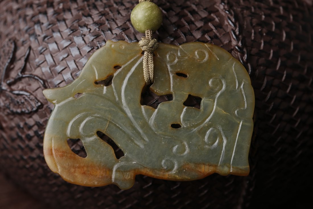An Old Jade Carved Toggle Piece