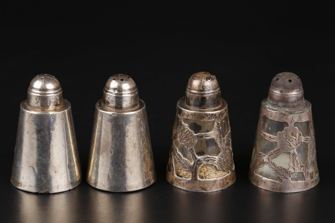 Two Pairs Of Silver Salt Shakers