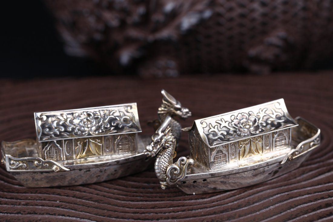 A Pair Of Delicately Carved 925 Silver Cases