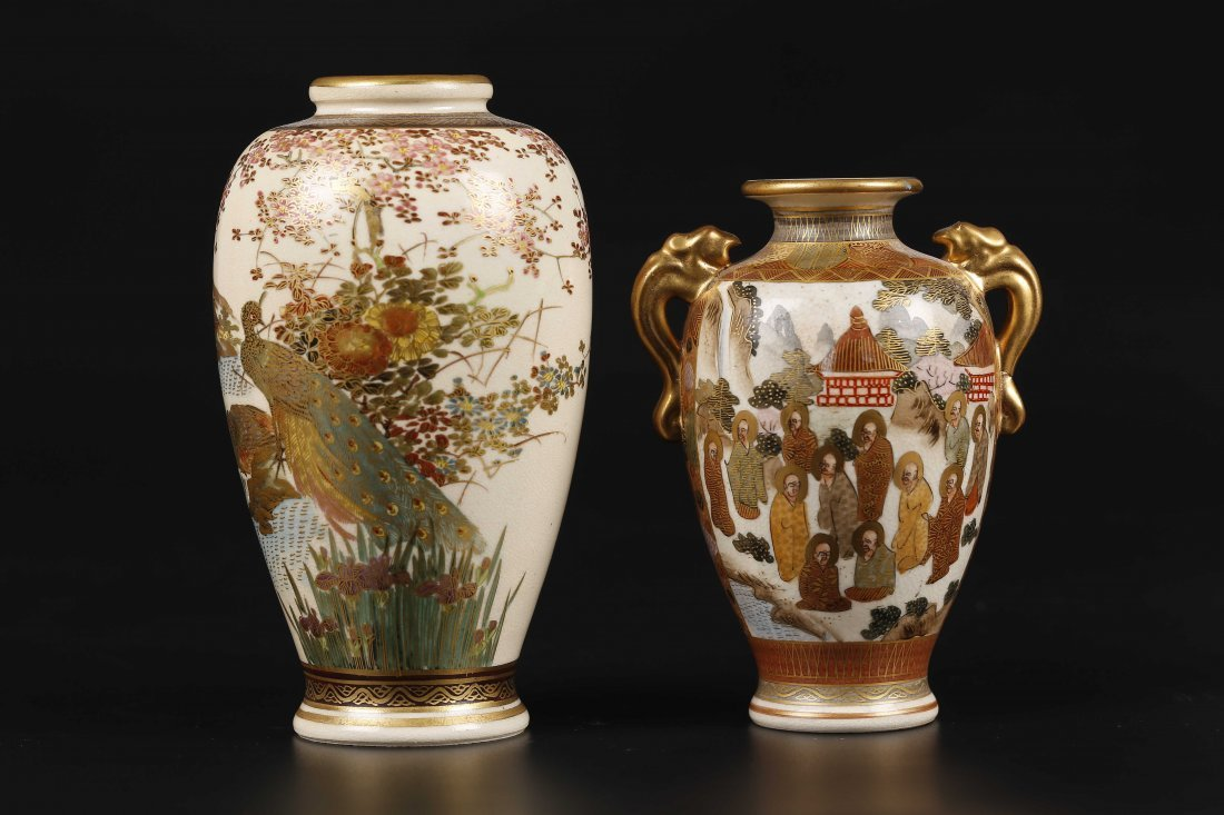 Two Japanese Kutaniyaki Vases.