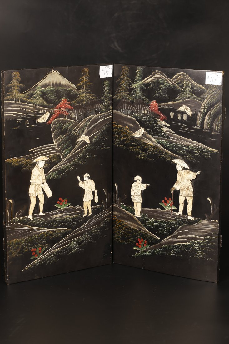 Two Antique Japanese Carved & Pasted Plaques.