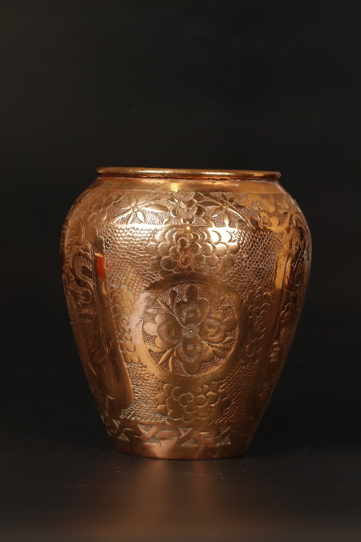 A Filigree Bronze Figural Jar.
