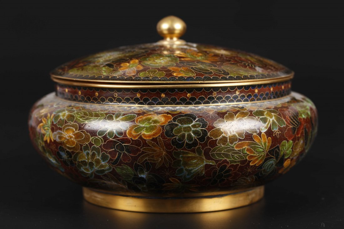 Large Size Cloisonne Lidded Jar.