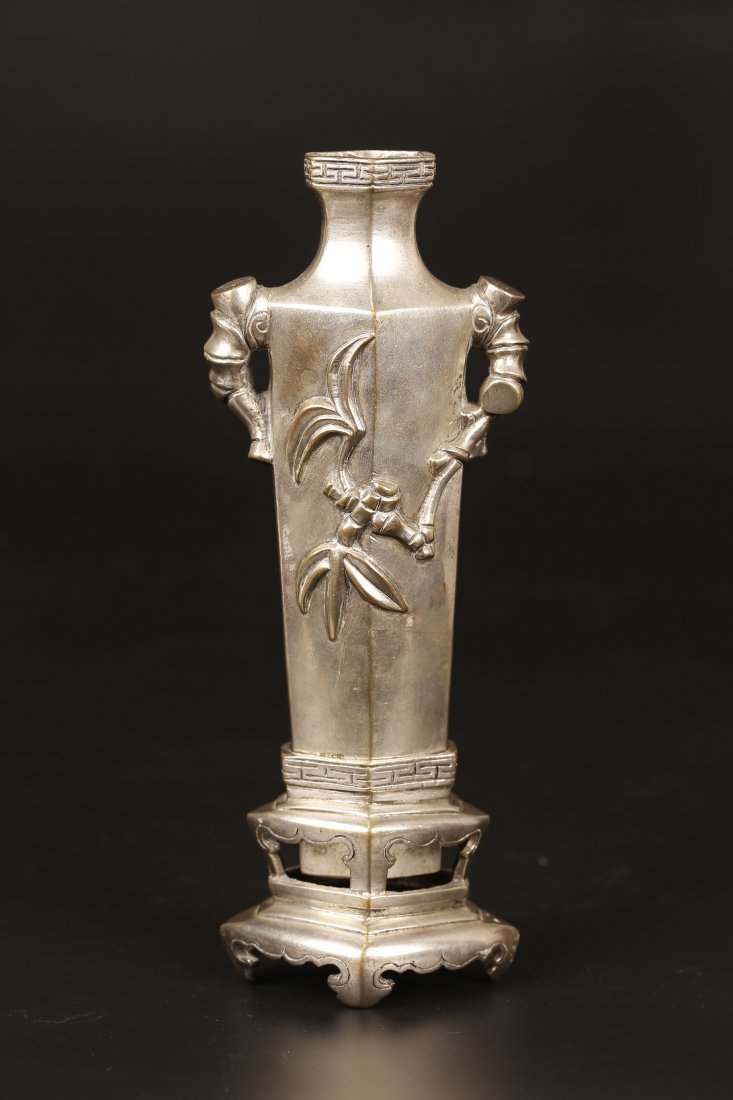 Old Bronze Cast Flower Vase.