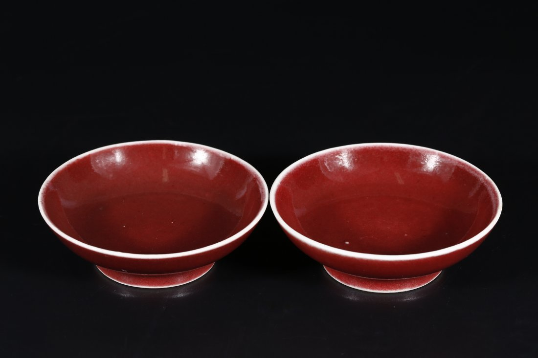 Pair of Copper-Red Glazed Dishes.