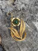 Flower Designed Brooch Inlaid With BC Jade Bead.