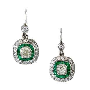 Old Mine Diamond & Emerald Platinum Drop Earrings