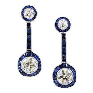 Old Mine Diamond & Sapphire Platinum Drop Earrings