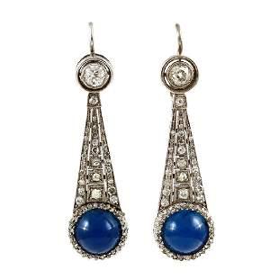 Cabochon Sapphire & Old Mine Diamond 18K Gold Earrings