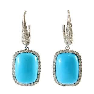 Turquoise & Diamond 18K White Gold Drop Earrings