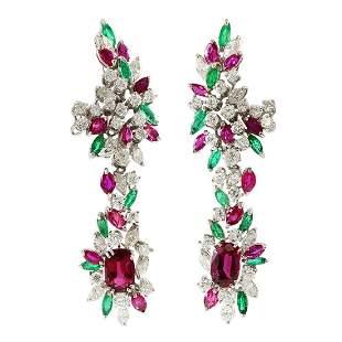 Diamond, Thai Ruby & Emerald 18K Gold Drop Earrings