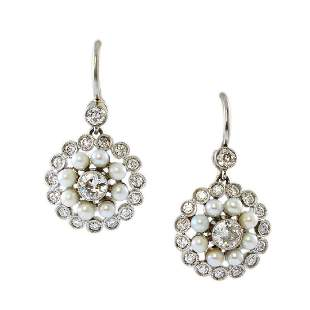 Old Mine Diamond & Pearl Platinum Drop Earrings
