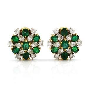 Diamond & Emerald 18K Yellow Gold Cluster Earrings
