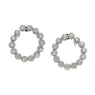 Diamond 18K White Gold Twist Hoop Earrings