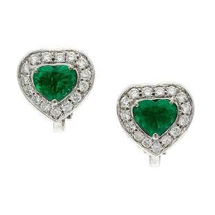 Emerald & Diamond 18K Gold Heart Earrings