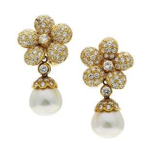 Italian Diamond & Pearl 18K Gold Day to Night Drop
