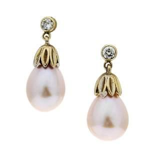 Pink Cultured Pearl & Diamond 14K Gold Drop Earrings