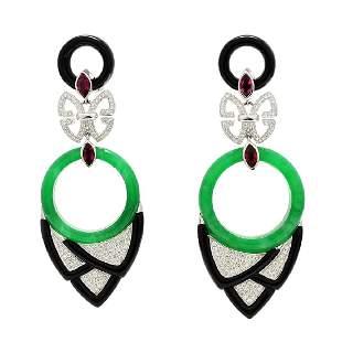 Diamond, Jade, Onyx & Tourmaline Dangle Earrings