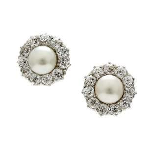 Natural Pearl & Diamond 14K Gold Stud Earrings