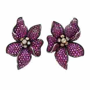 French, Ruby & Diamond 18K Gold Flower Earrings