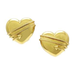 Tiffany & Co. 18k Yellow Gold Heart Earrings