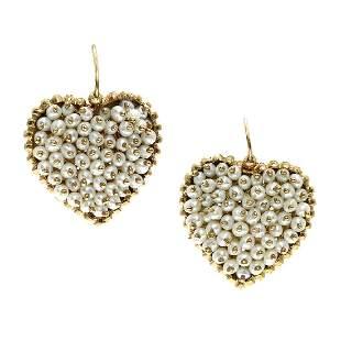 Seed Pearl 14K Yellow Gold Drop Heart Earrings
