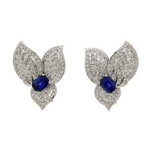 Sapphire & Diamond 18K White Gold Earclips