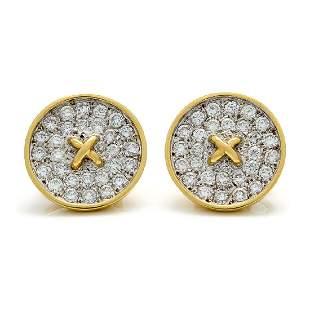 Tiffany & Co. Diamond 18K Gold Button Earrings