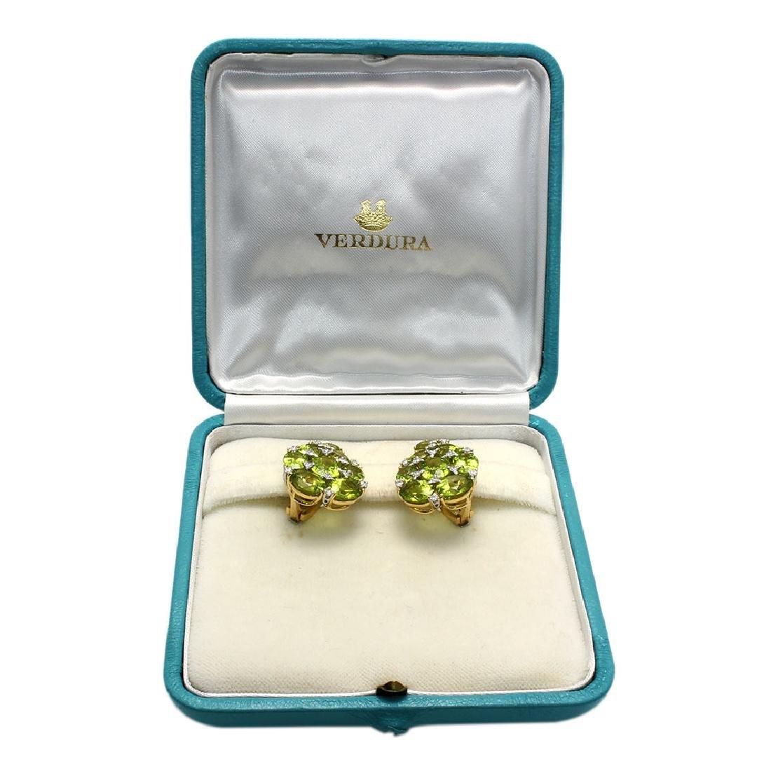 Verdura Peridot & Diamond 18K Gold Earrings