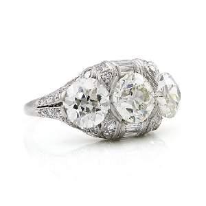 GIA Old European Diamond Platinum Ring