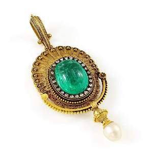 French, Emerald, Diamond & Pearl Gold Scarab Pendant