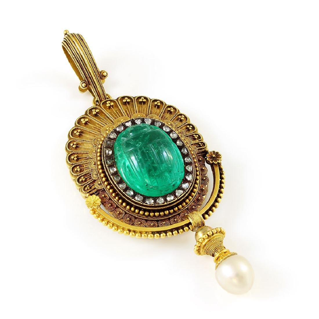 French, Emerald, Diamond & Pearl Gold Scarab Pendant