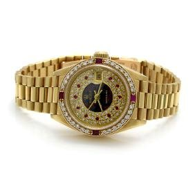 Rolex Diamond, Ruby & Opal 18k Gold Ladies Watch
