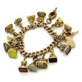 Rare Vintage Multi Stone Gold Charm Bracelet