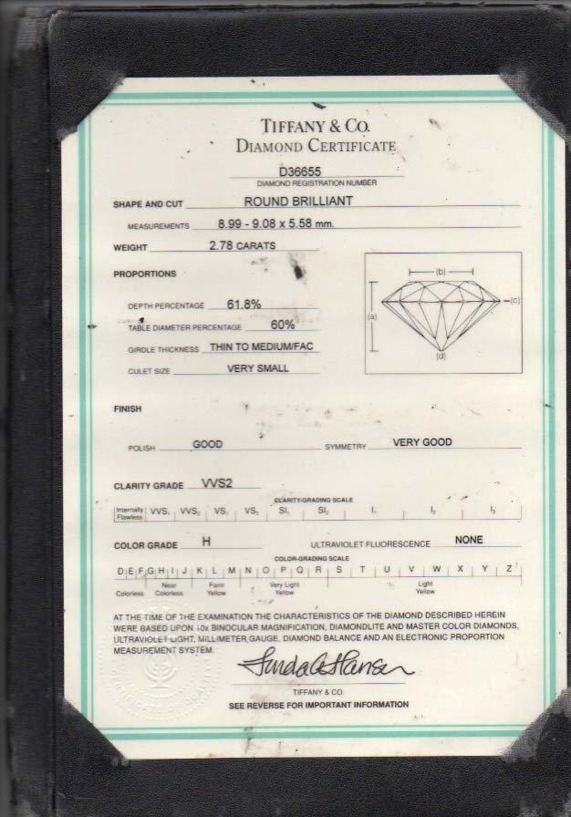 Tiffany & Co. Diamond Platinum Ring - 7