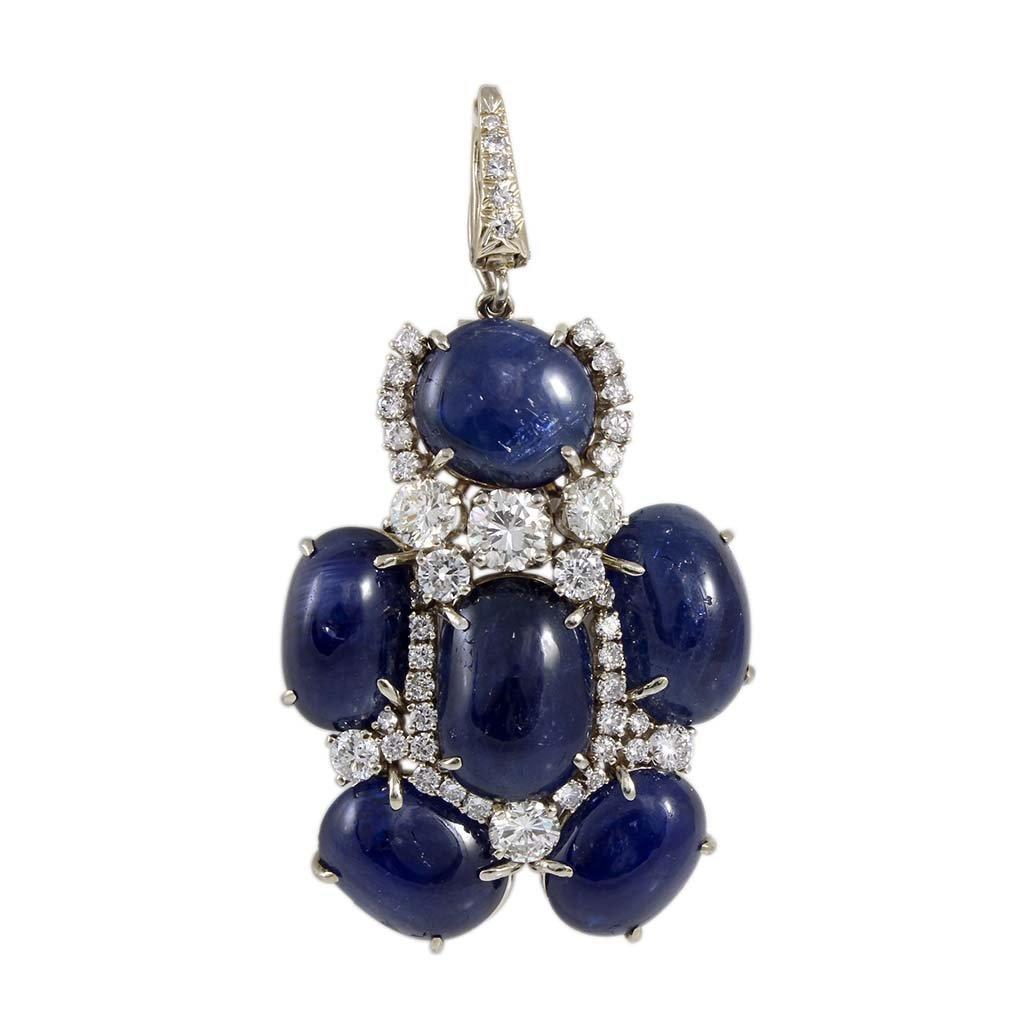 Andrew Clunn Cabochon Sapphire Diamond 18K Gold Pin Pen