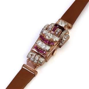 Retro 14K Gold Ruby Diamond Covered Watch by Lusina