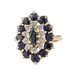Sapphire Diamond 14K Gold Ring