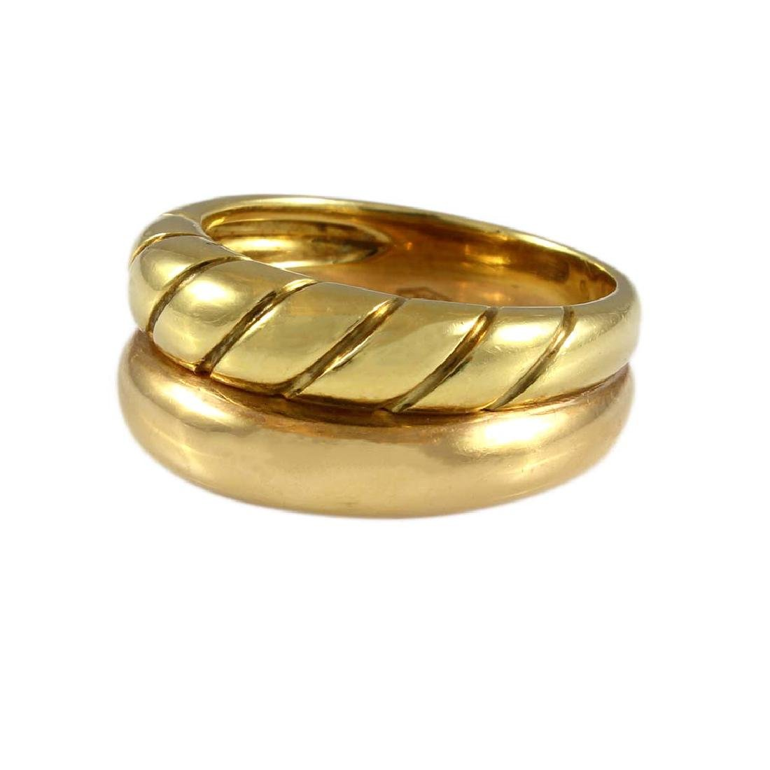 18K Two Tone Gold Double Band Ring