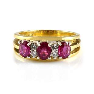 Ruby Diamond 18K Gold Ring