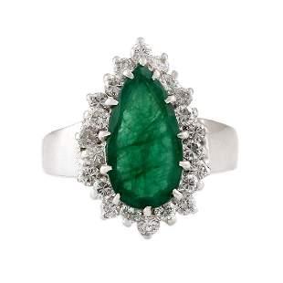 Emerald Diamond 14K White Gold Ring