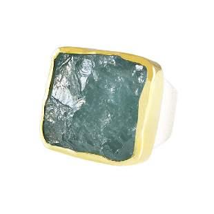 Rough Aquamarine 18K Gold Silver Ring