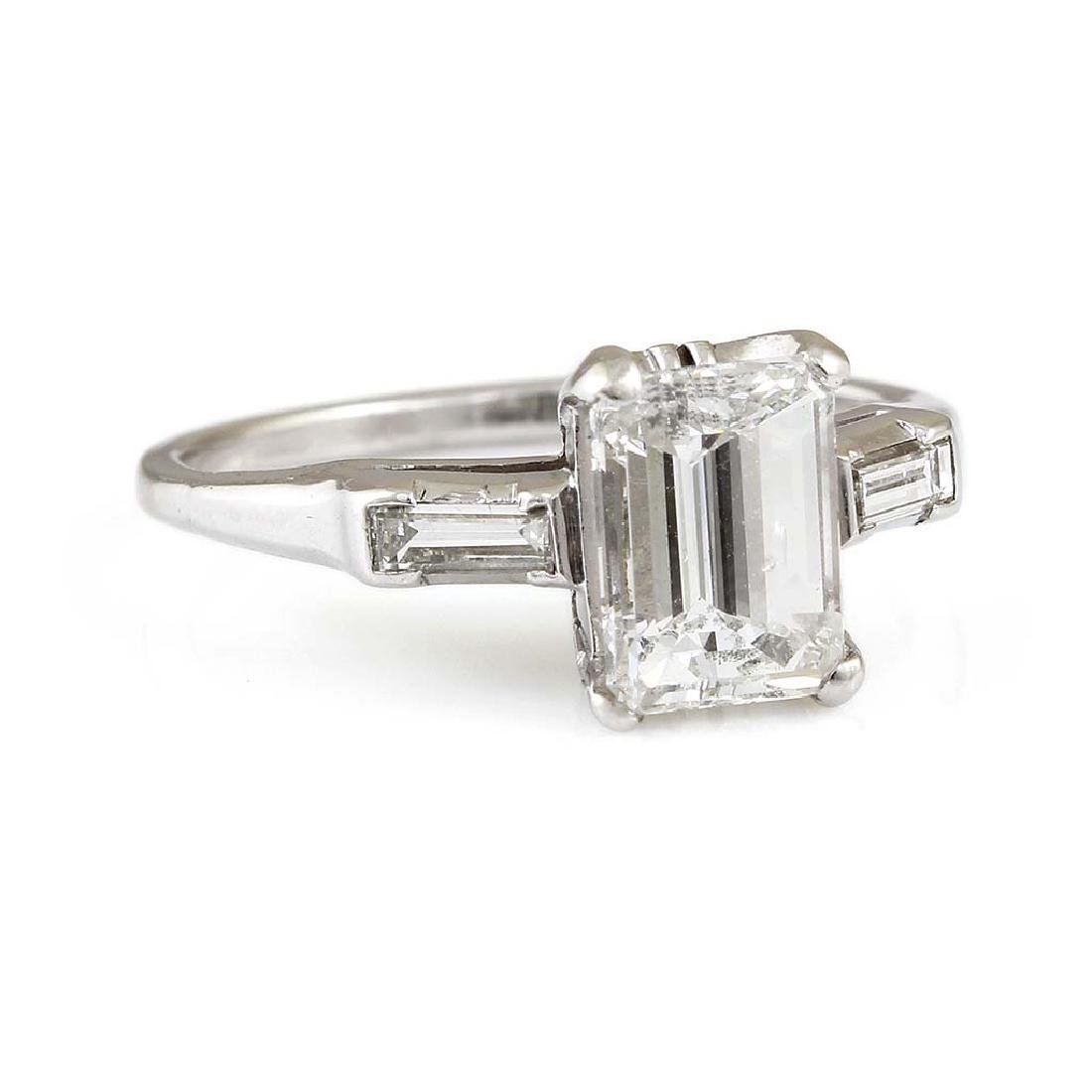 Diamond Platinum Three Stone Ring - 2