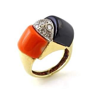 Diamond Coral Onyx 14K Yellow Gold Ring